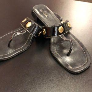 Prada leather logo gold button sandals
